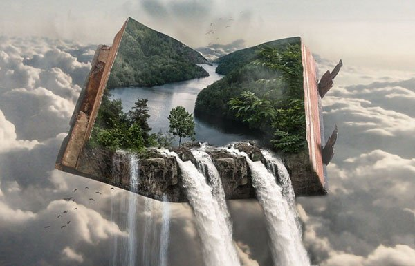 Illustration of waterfall coming out of open book