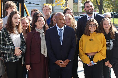 John Lewis with Woodstock students