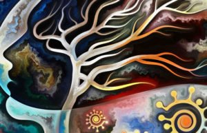 Painting of woman's head with tree and other colorful natural objects