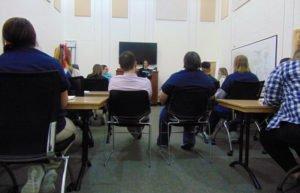 Kathy Fox teaching course in prison