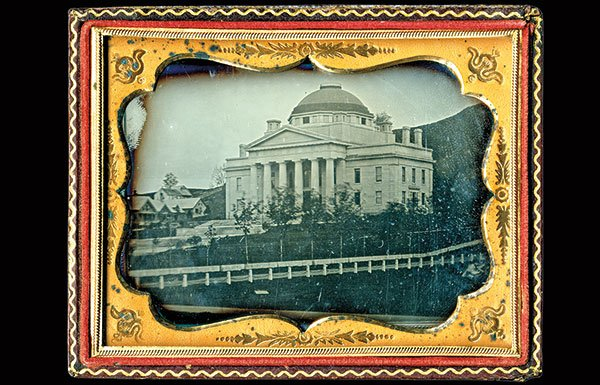 Early photo of Vermont State House in handmade frame