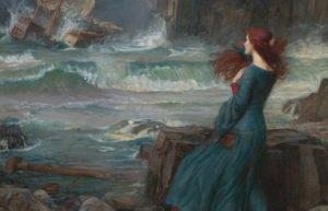 Painting of Miranda looking out at shipwreck