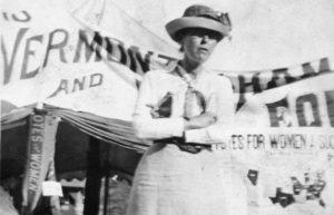 Suffragist standing on stump at Vermont State Fair