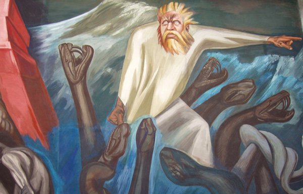 Detail of mural by Jose Clemente Orozco