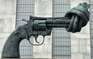 Scultpure of revolver with barrel twisted
