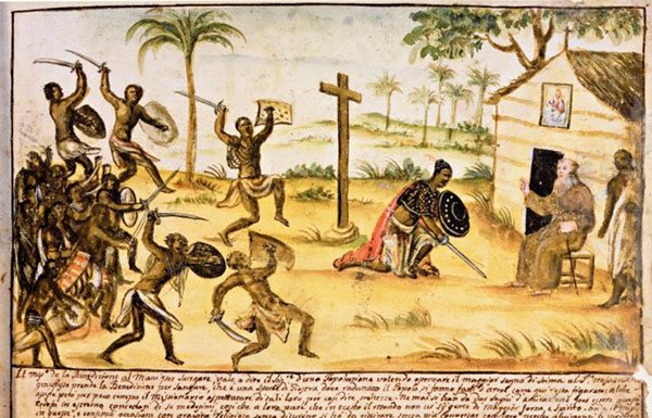 Painting of slaves attacking a house during the Stono Rebellion