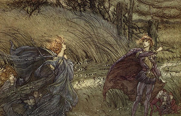 A Midsummer Night's Dream. Illustration by Arthur Rackham (1867 - 1939) to the play by William Shakespeare. Act 2 scene 1, Titania and Oberon: