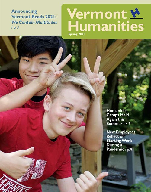 Two boys on the cover of Vermont Humanities Spring Newsletter
