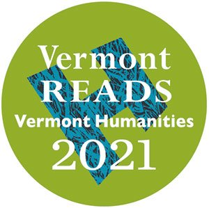 Vermont Reads 2021 logo: white text on a light green background