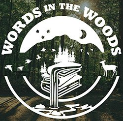 Words in the Woods logo: white lettering of a deer and geese and a waterfall over a forested landscape