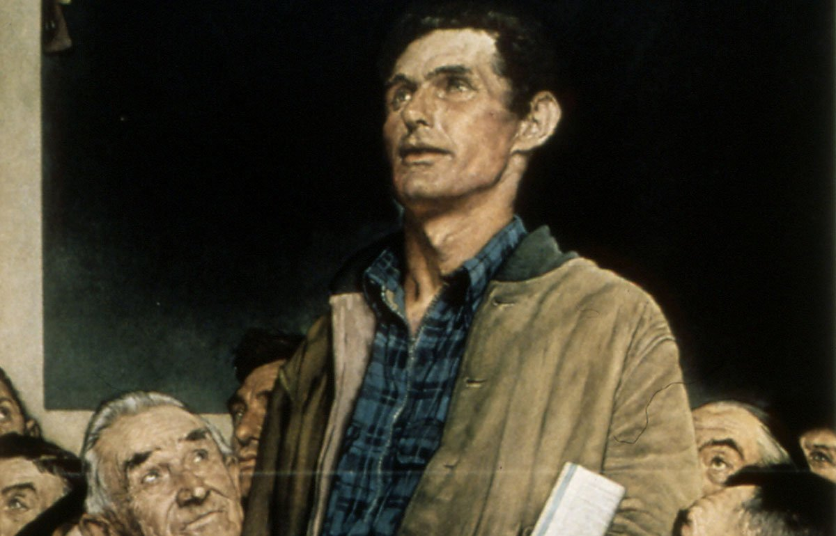 """Man standing in town meeting in Norman Rockwell's """"Freedom of Speech"""" painting"""