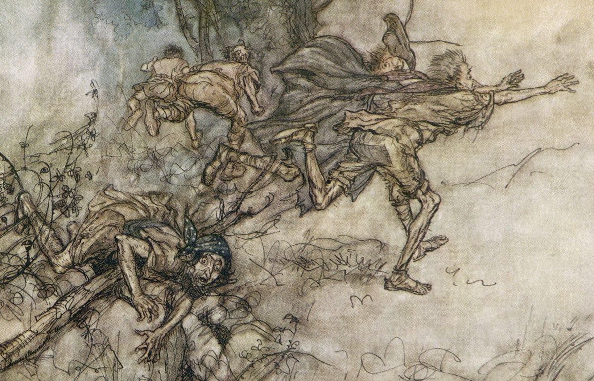 Drawing of people fleeing in terror during Midsummer Night's Dream