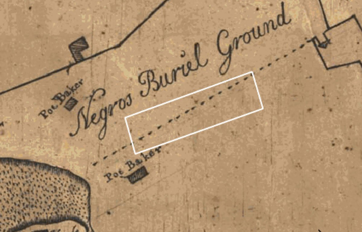 """Hand-drawn old map with """"Negro Burial Ground"""" written on it in fountain pen"""