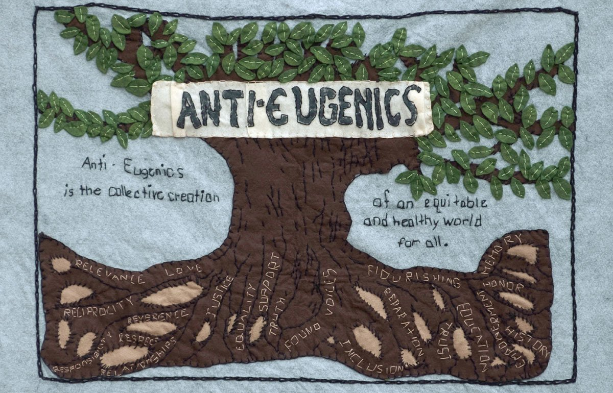 Anti-eugenics tapestry with tree