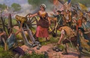 Painting of woman firing a cannon during Revolutionary War battle