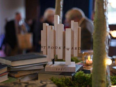 Vermont Book Award sculpture from 2017, a series of wooden blocks