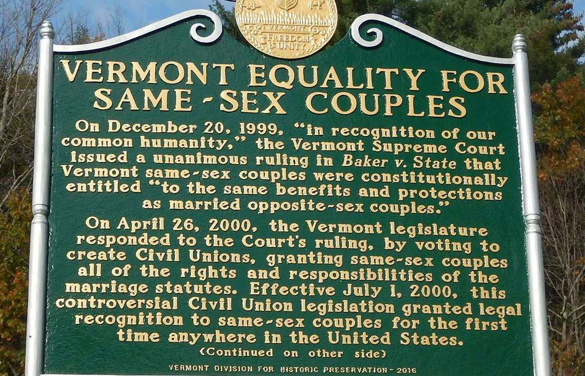 State history marker: Vermont Equality for Same-Sex Couples