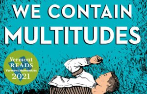 We Contain Multitudes book cover with Vermont Reads 2021 logo