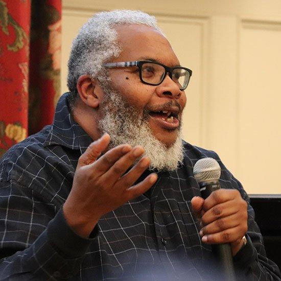 Bryan Terrell Clark speaking in Middlebury