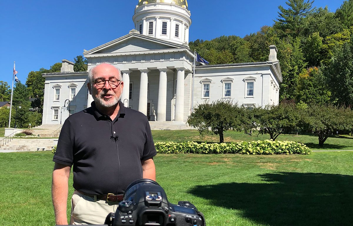 Vermont State Curator David Schutz in front of the Vermont State House